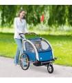 Remorca de bicicleta  Homcom - Albastru + Gri, 5664-0101BG